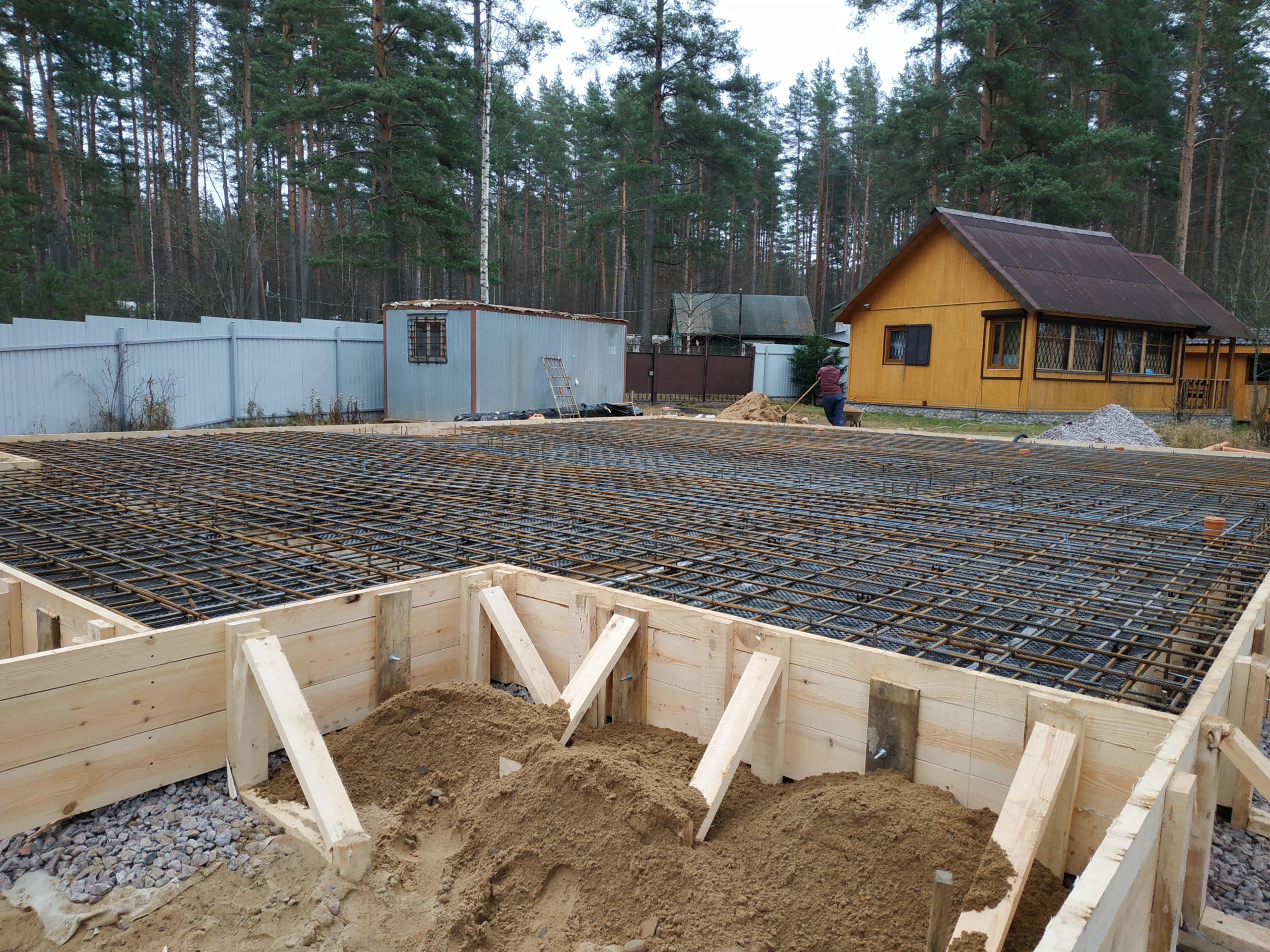 Строительство монолитной плиты с усилением